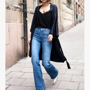 Anine Bing High Rise Patch Pocket Raw Flare Jeans
